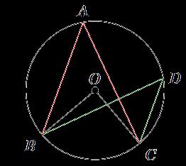 \(\angle\)*A* =  \(\angle\)*D* = \(\frac{1}{2}\) \(\angle\)*O*